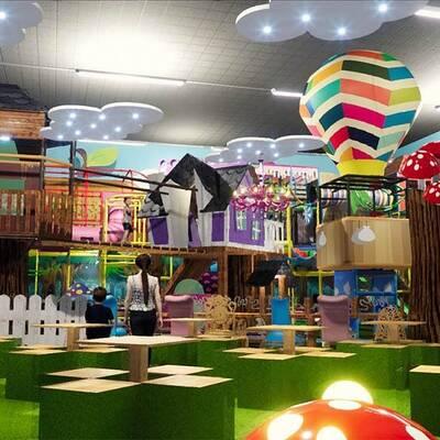 Soft play centre design, enchanted woodland indoor playground installation