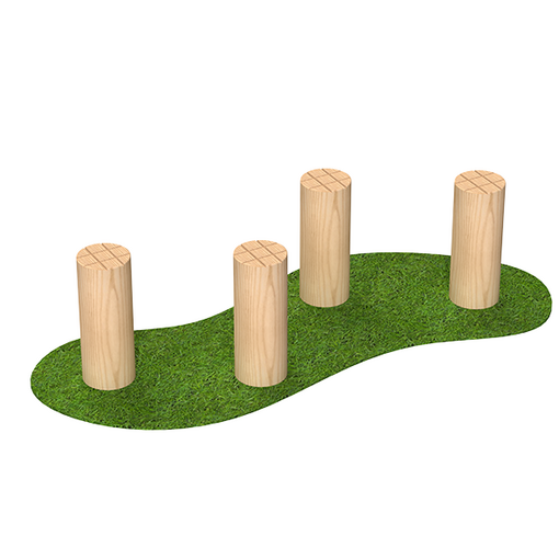 Hop along stepping logs outdoor timber playground equipment