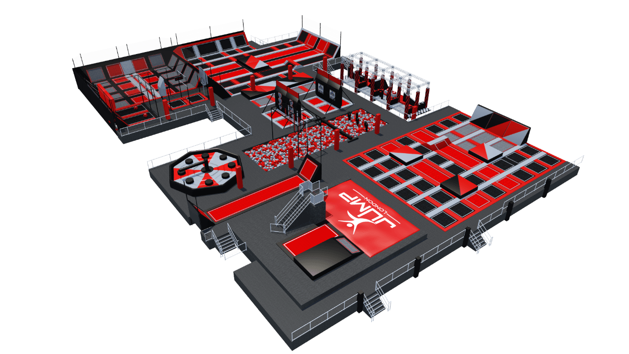 Trampoline park design features with parkour obstacles ball games and foam pits