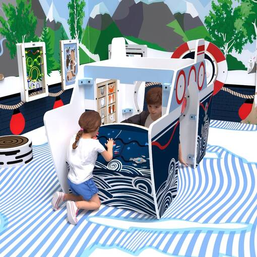 Arctic boat theme interactive feature play structure with activity panels