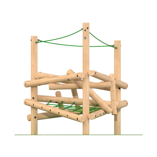 Climbing frame with climbing features ropes timber outdoor playground equipment