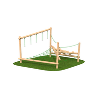 Climbing frame with rope climbing features timber outdoor playground equipment