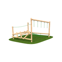 Climbing frame with climbing features timber outdoor playground equipment
