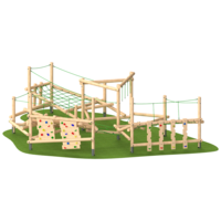 Climbing Frame with Slide Rope Climbing Features Timber Outdoor Playground Equipment