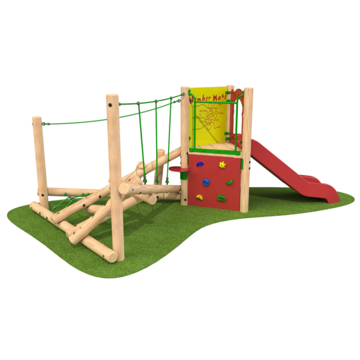 Climbing frame with slide climbing features timber outdoor playground equipment