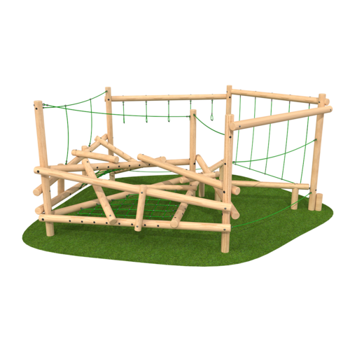 Climbing frame with ropes netting climbing features outdoor playground equipment timber