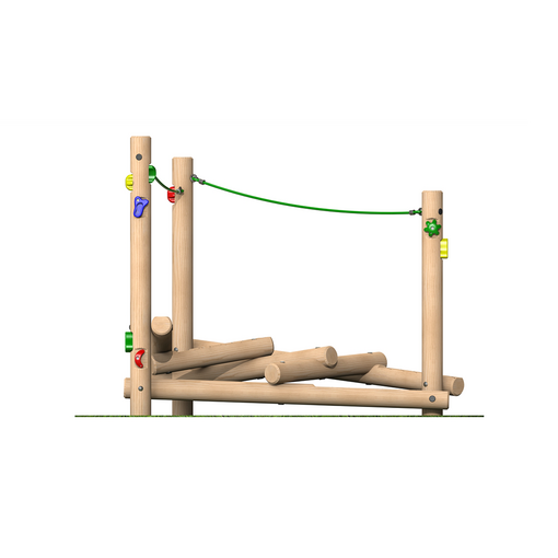 Climbing frame with netting ropes climbing features timber outdoor playground equipment