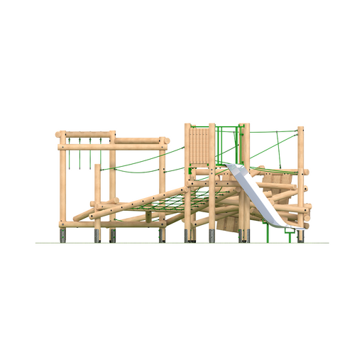 Climbing frame with slide netting climbing wall timber outdoor playground equipment