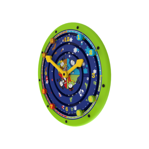 Green clock theme learning activity wheel wall mounted interactive feature