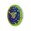 Green white clock theme learning activity wheel wall mounted interactive feature
