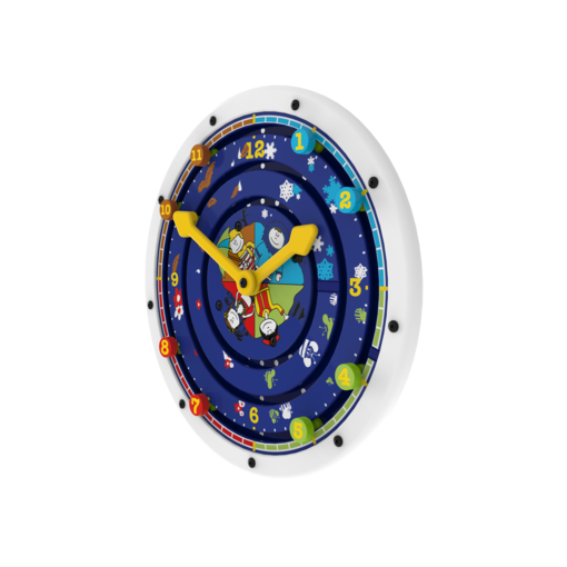 White clock theme learning activity wheel wall mounted interactive feature