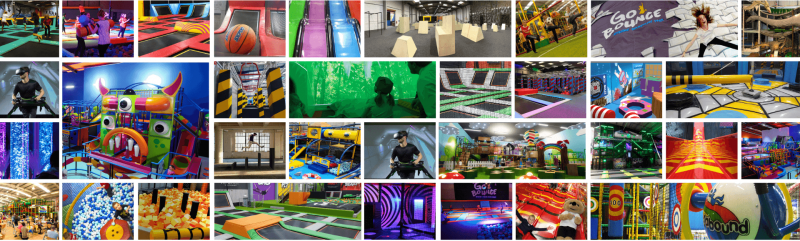 House of play product range banner indoor playground soft play trampoline park virtual reality vr sensory room agility parkour ninja warrior