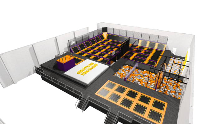 Trampoline park equipment and features