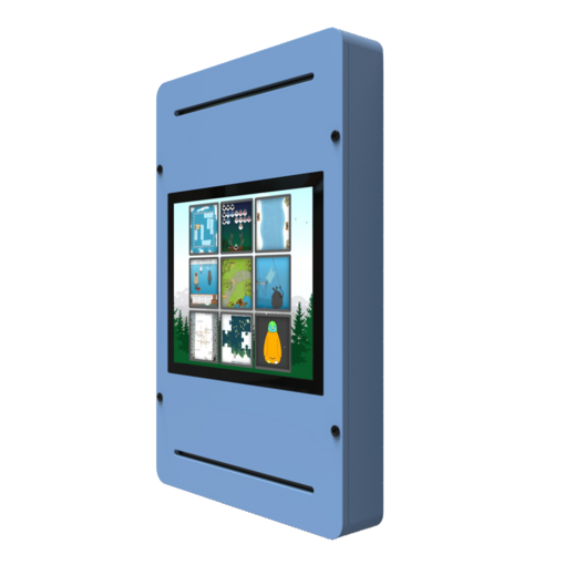 Blue digital games activity wall panel wall mounted interactive features