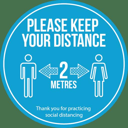 Social distancing floor graphics blue