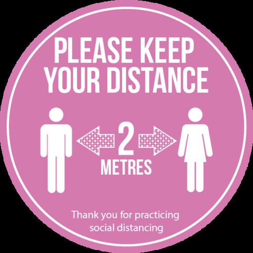 Social distancing floor vinyl - pink multi pack