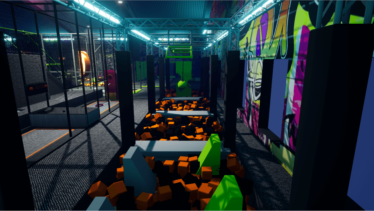 Trampoline park design features with parkour obstacles, tag attack & ball games