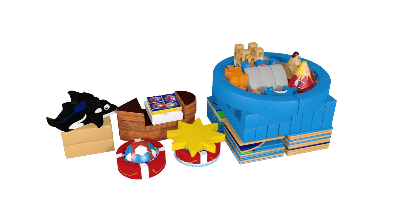 Beach pack away demountable soft play design