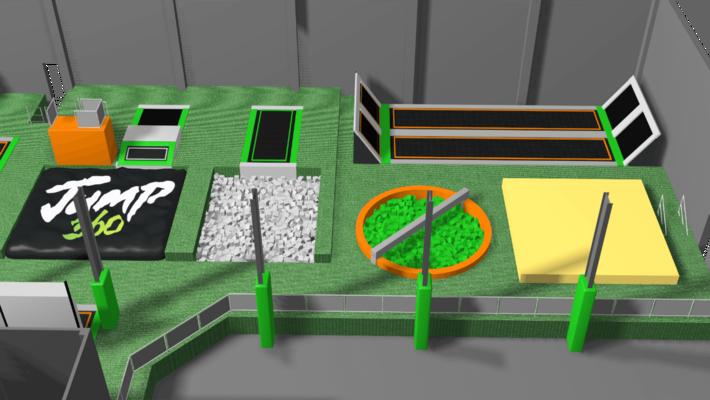 Trampoline park equipment design features