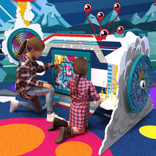 Alien monster space rocket ship interactive activity panel play structure indoor playground soft play equipment