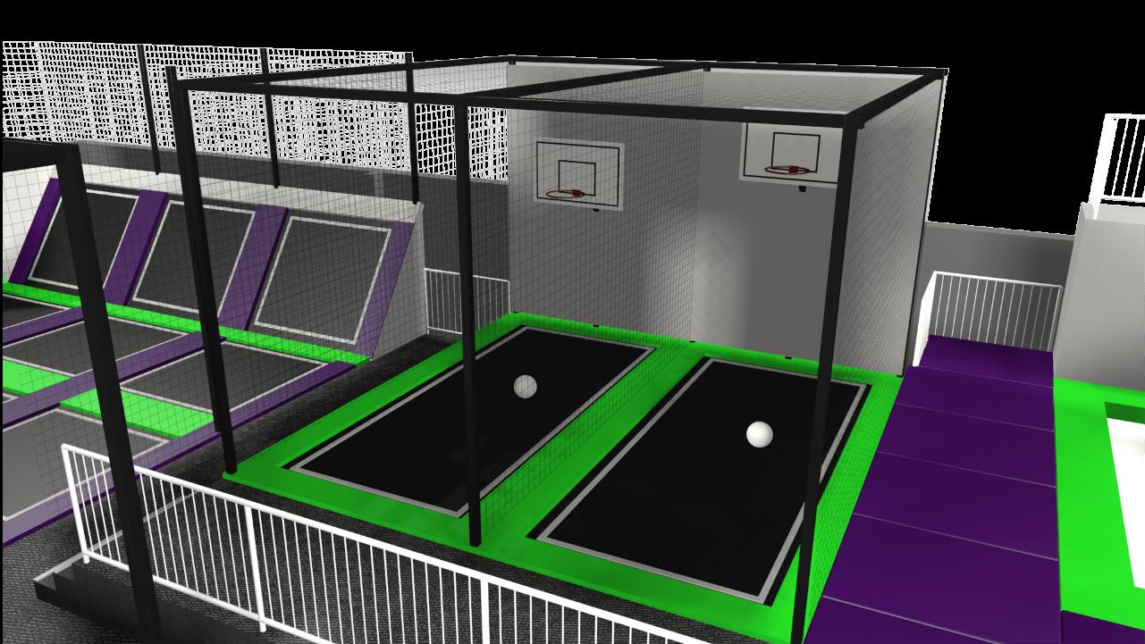 Trampoline park ball game design feature
