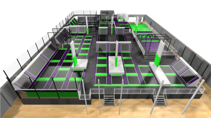 Trampoline park design features