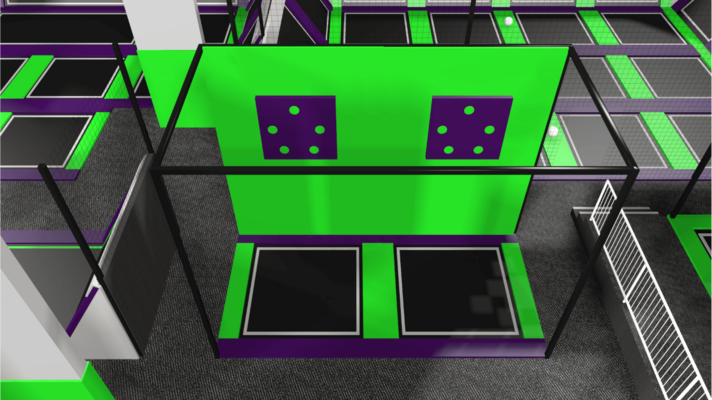 Trampoline park ball game design feature