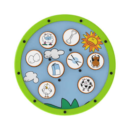 Green animal matching activity wheel interactive features
