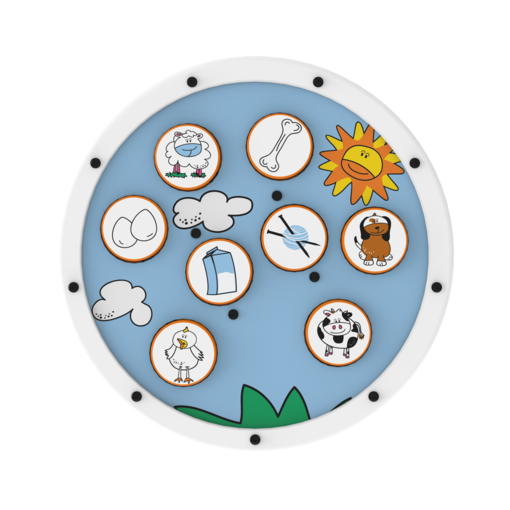 White animal matching activity wheel interactive features
