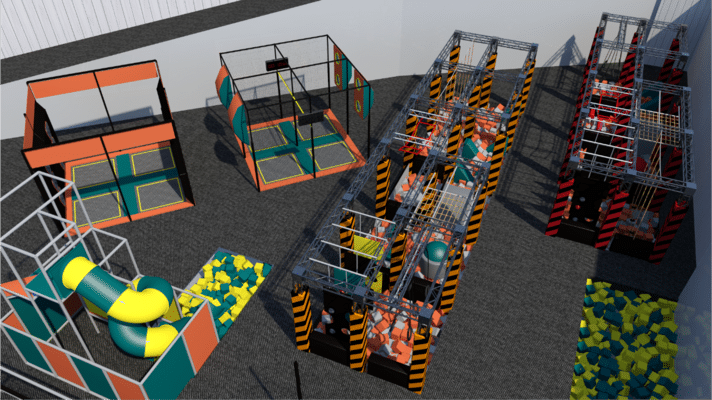 Trampoline park design with parkour obstacles and foam pit