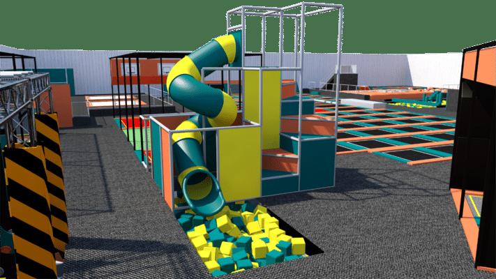 Trampoline park with indoor playground design features