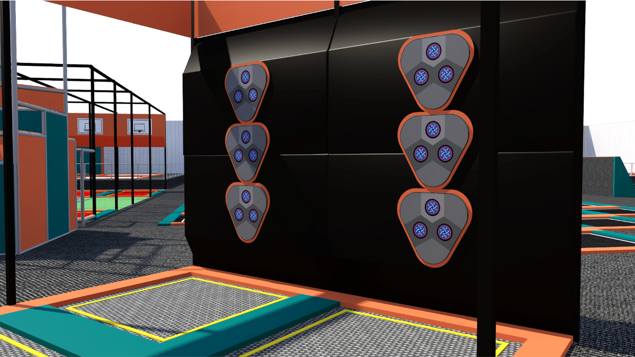 Trampoline park ball game design features