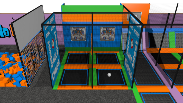 Trampoline park ball games design features