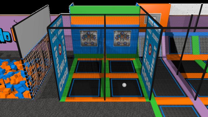 Trampoline park ball games design features