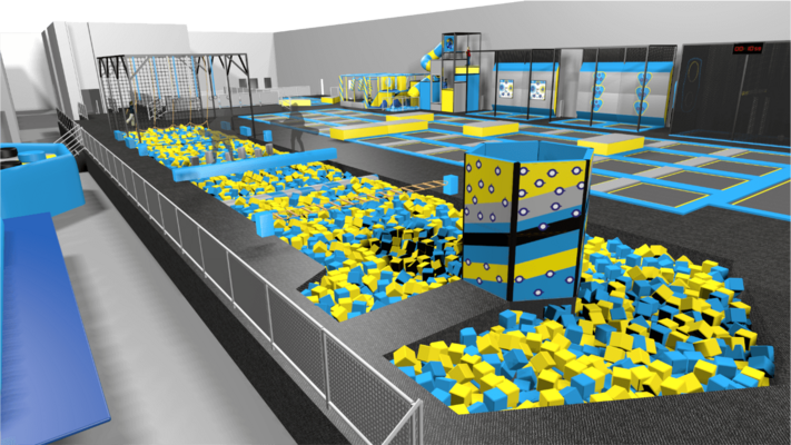 Ninja warrior course equipment with foam pit and agility obstacles