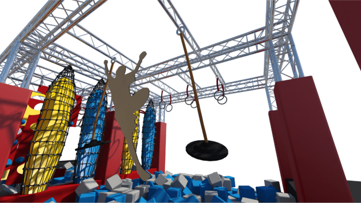 Ninja warrior course with agility parkour equipment