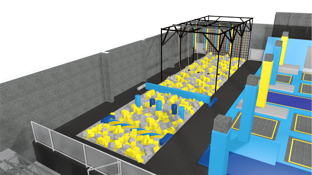 Trampoline park with agility course equipment & foam pit
