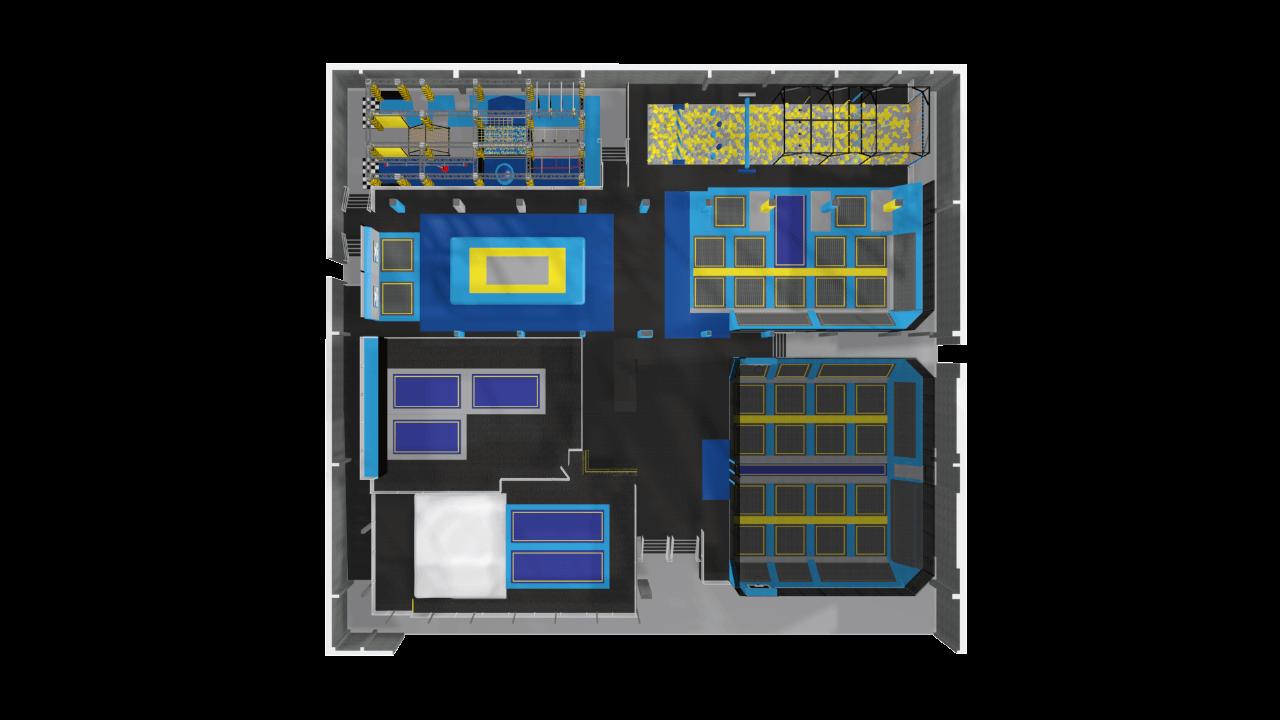 Trampoline park design features
