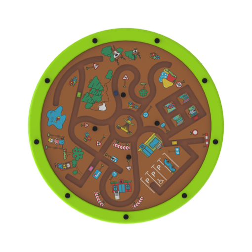 Green spinning activity wheel marble puzzle interactive features