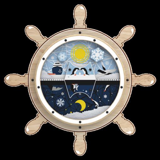 Arctic theme captain's wheel activity wheel back plate