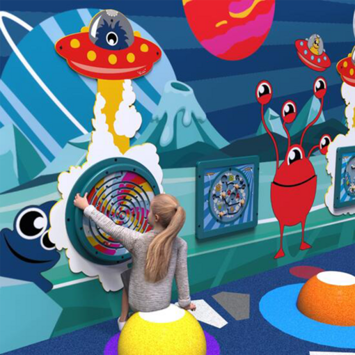Alien monster space theme interactive activity panel indoor playground soft play equipment