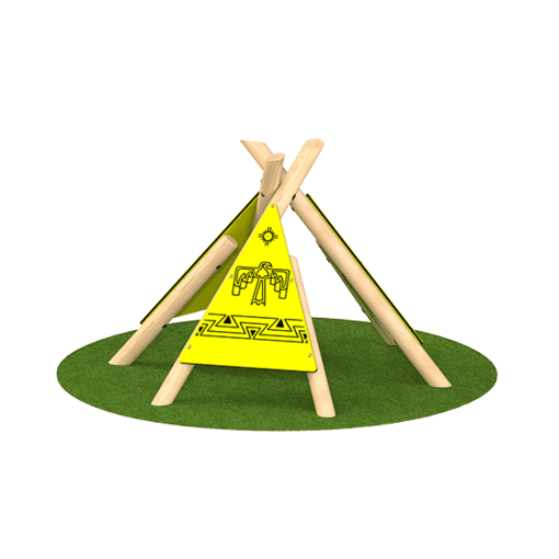 Engraved wigwam teepee outdoor playground equipment timber frame