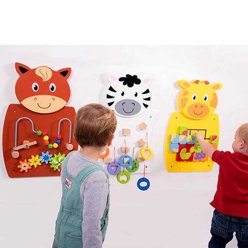 Giraffe zebra horse animal theme interactive wall mounted activity panel sensory room soft play indoor playground equipment