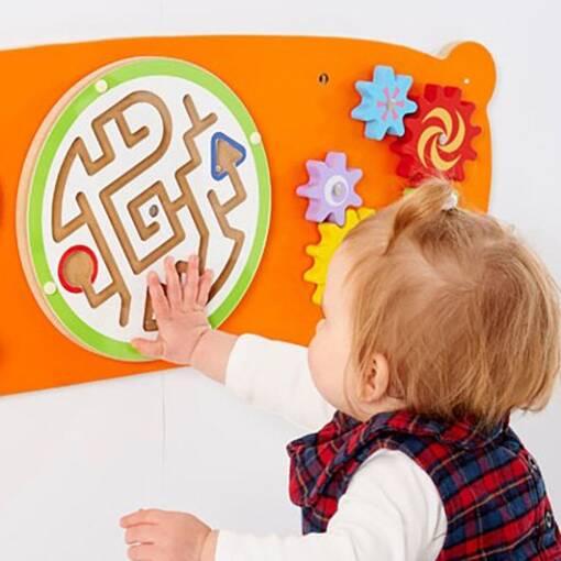 Bear animal theme interactive wall mounted activity panel sensory room soft play indoor playground equipment