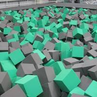 Grey Green Foam Trampoline Park Agility Course Foam Pit Feature