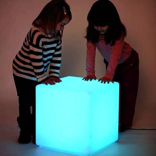 Multi coloured led light up cube table seat sensory room equipment