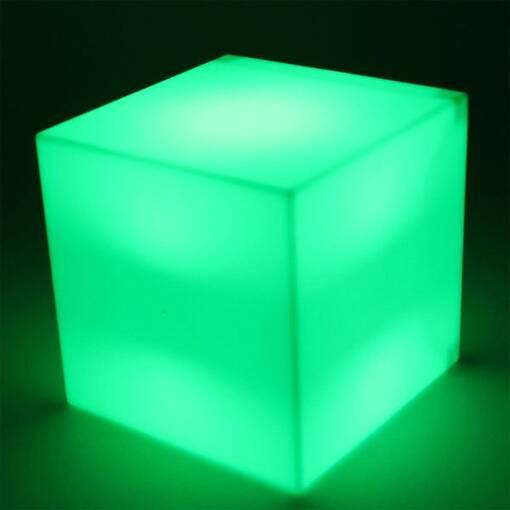 Green led light up cube table seat sensory room equipment