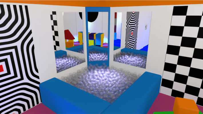 Sensory room design with led infinity panels, bubble tubes, ball pool pits and projectors