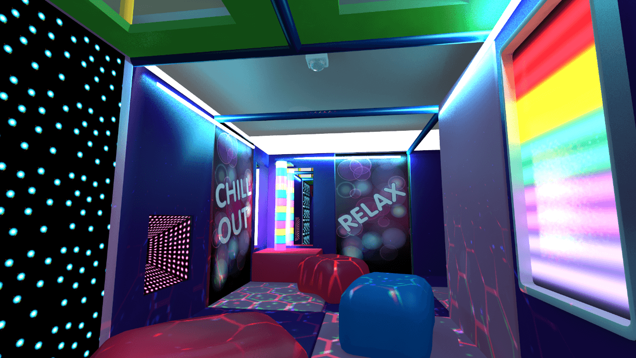 Sensory room design within a soft play centre with mirrors, bubble tubes and led wall panels