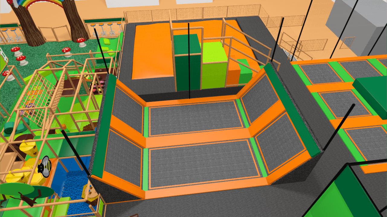 Trampoline park design, trampoline park ball games